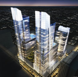 """A renderig of the original vision for """"The Edison"""" towers."""
