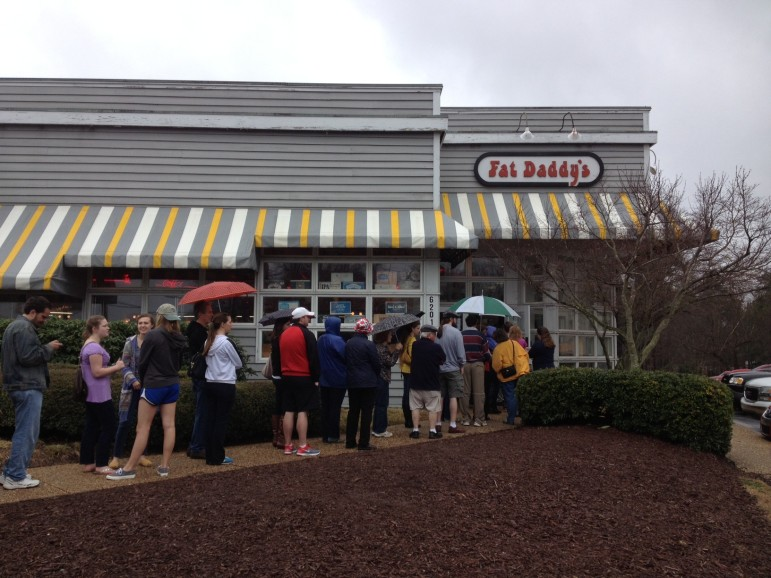 People line up outside Fat Daddy's this weekend to visit one more time before it closed.