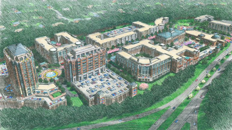 A sketch of the new Glenwood Place mixed-use community