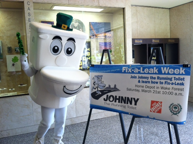 The highlight of March 2015 was Johnny the Running Toilet decked out in Irish gear and addressing the City Council on Fix-a-Leak Week