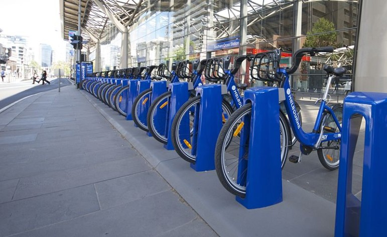 A bike station in Melbourne, Australia