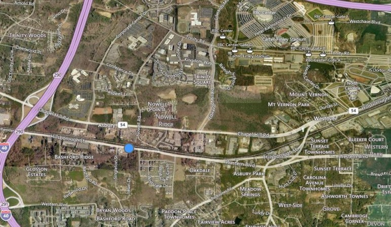 The site in question is indicated by the blue dot