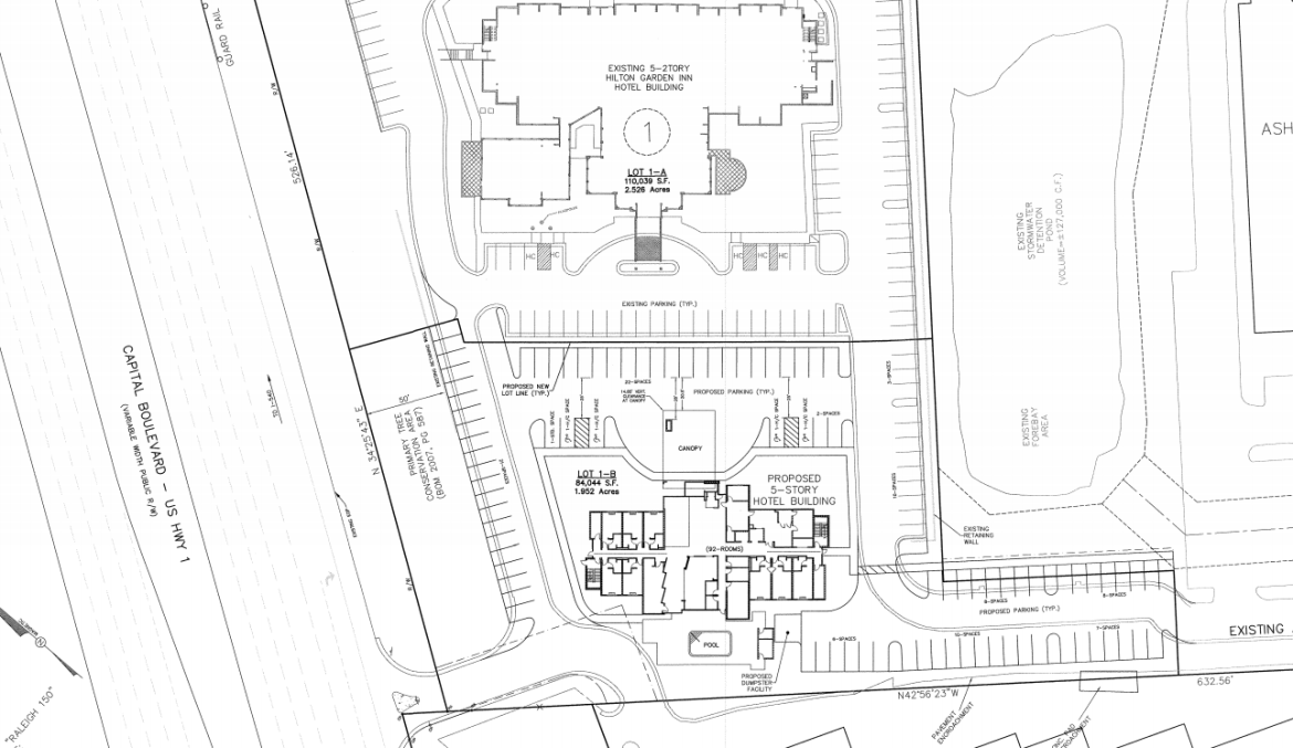The site plan for the new Fairfield Inn and Suites
