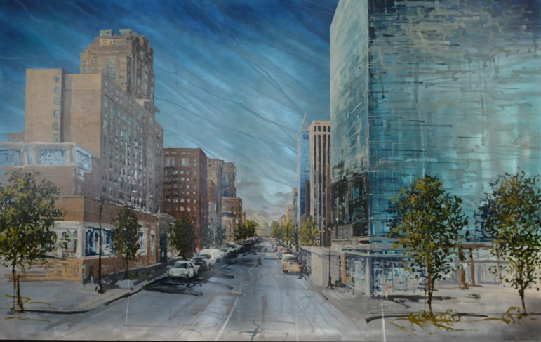 This incredibly cool aluminum painting of Charter Square was done by Scott Harris, and looks much better than any photo this reporter has ever taken of the building