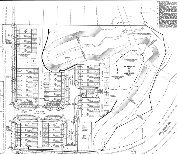 SIte plan drawings for Oakwood Townes in Mordecai