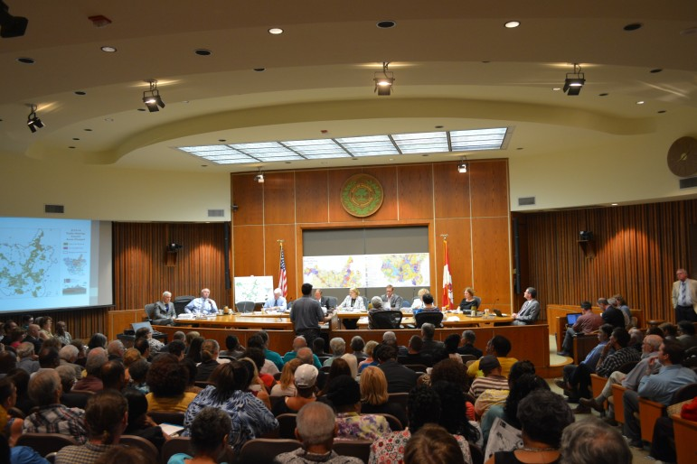 Council Chambers were packed to full capacity Tuesday night