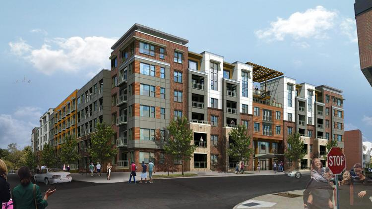An early rendering of the new apartment complex