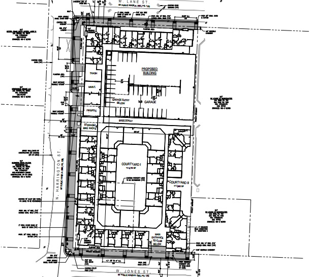 Site plans for the new Greyhound Apartments