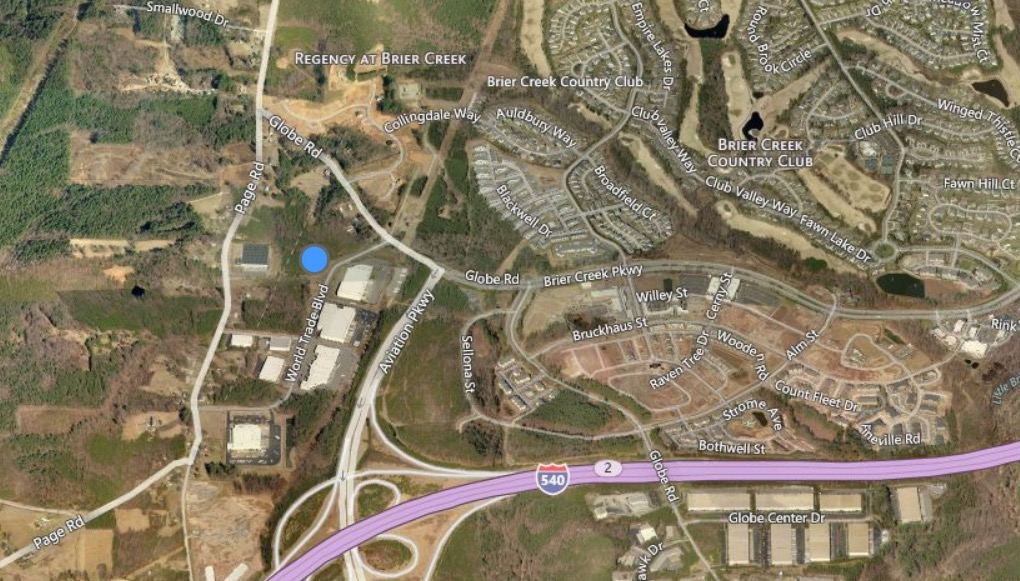 The blue dot indicates the site of the new Triangle Springs psychiatric hospital