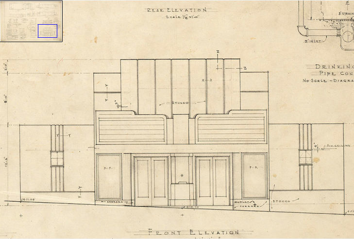 A sketch from the original plans for the Varsity Theater, circa 1940