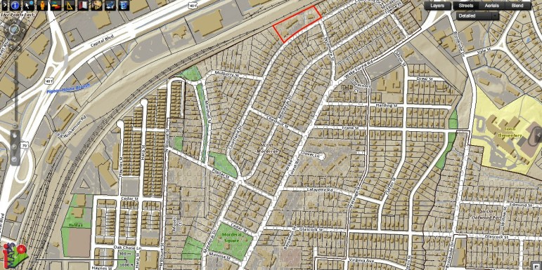The little white house boxes indicate the overlay district