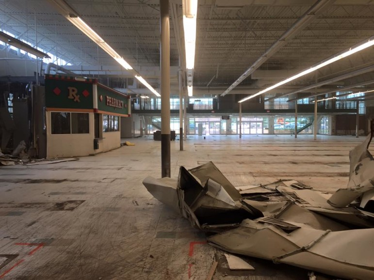 Demolition underway inside the former Kroger