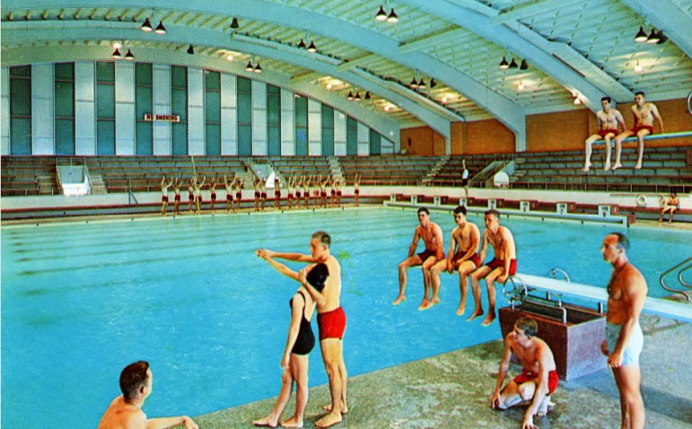 A postcard of the natatorium