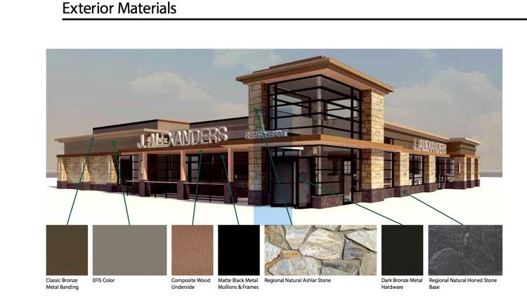 Early renderings for the new J. Alexander's were issued with last year's site plans