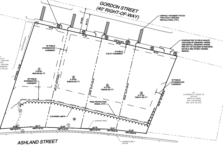 Site plans for the Gordon Road Subdivision