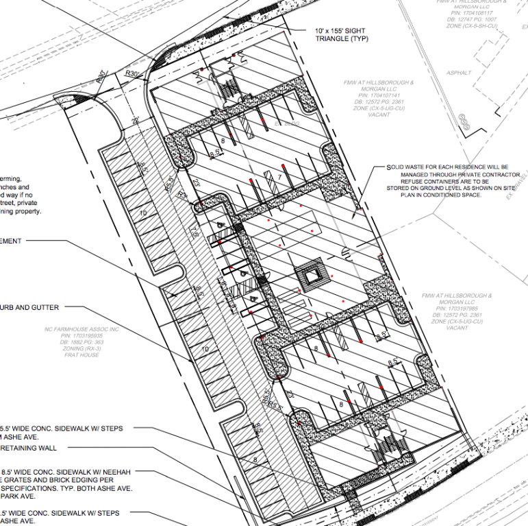 A closer view of the site plans for the apartment