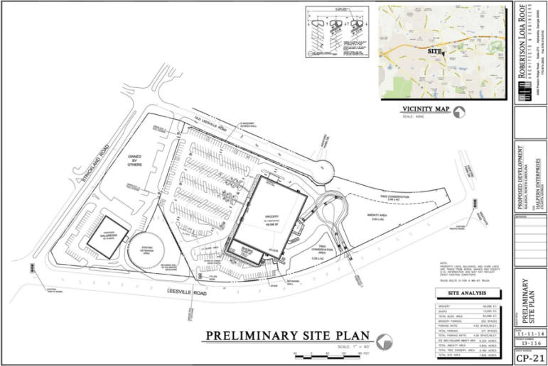 A site plan drawing for the site