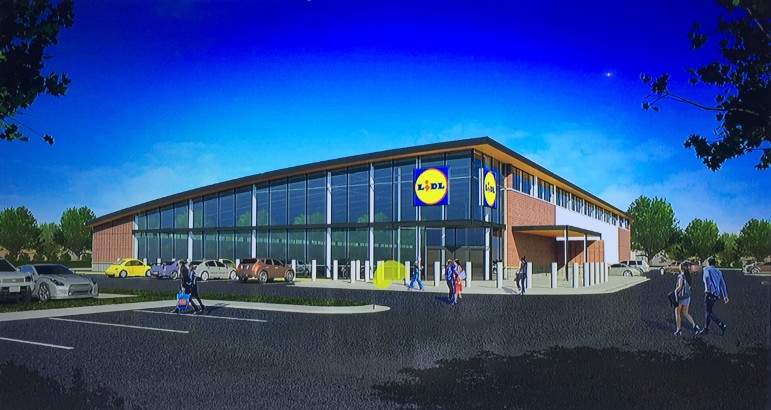 A rendering of the new Lidl Store