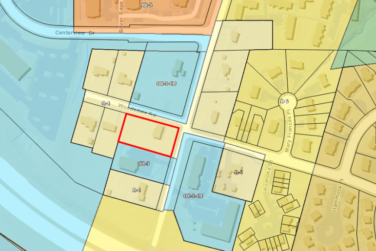 1522 Jones Franklin is outlined in red; the properties in blue are currently zoned Office Mixed Use