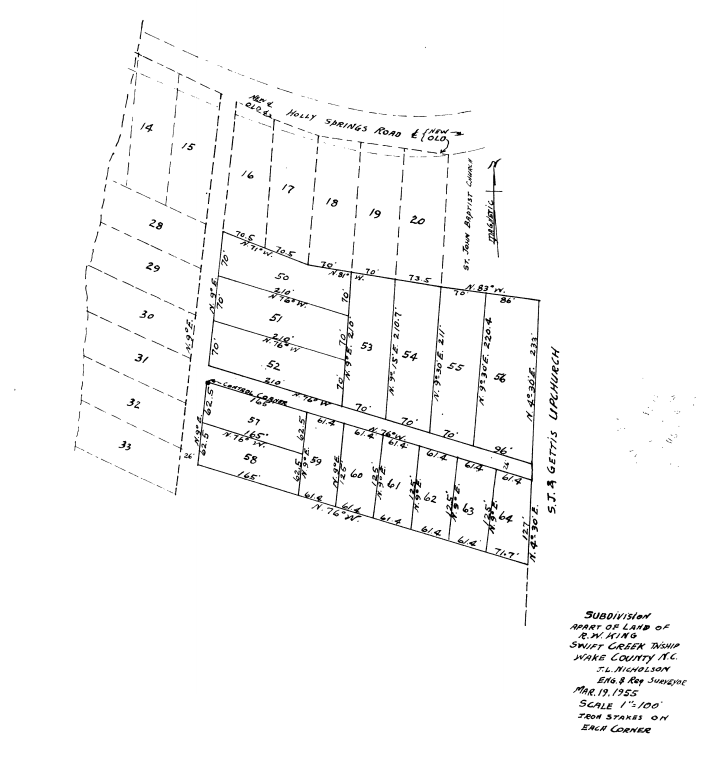 "An original map of the neighborhood. The property in question is identified here as Lot No. 50. ""Holly Springs Road"" is now Tryon Road."