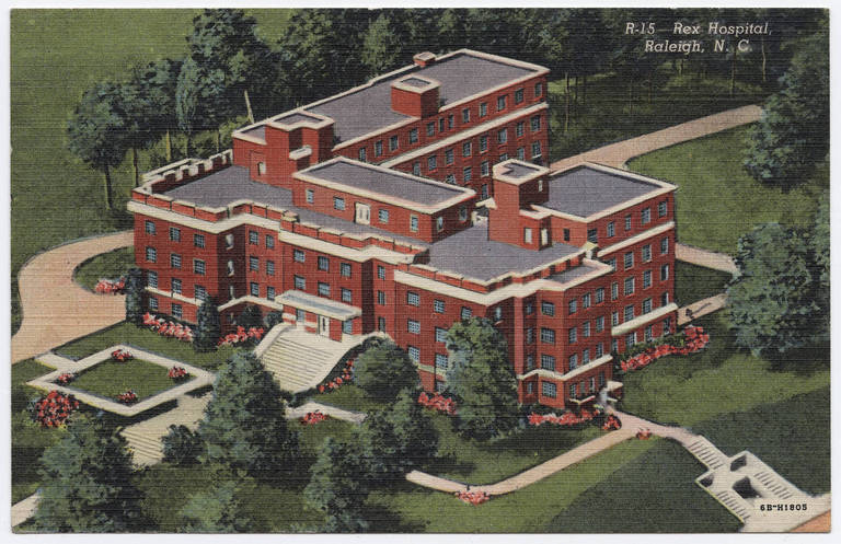 A drawing of the original Rex Hospital at Wade and St. Mary's