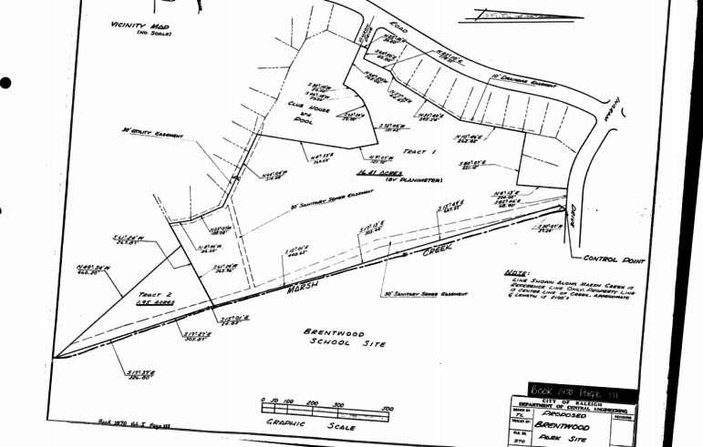 Original site plans for Brentwood Park from 1970