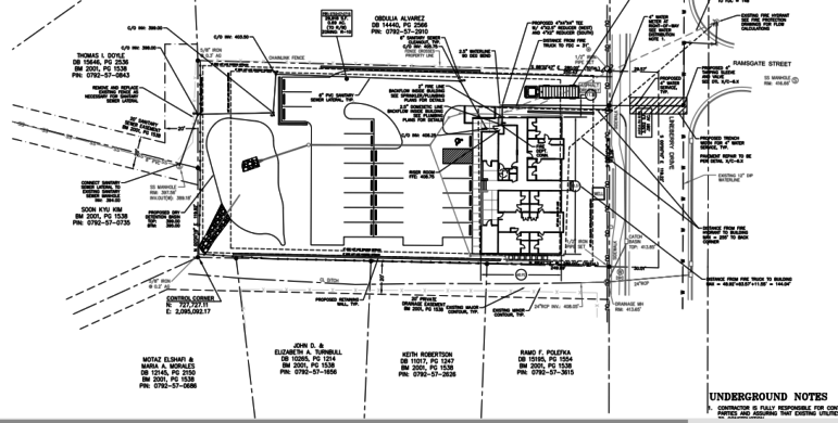 Site plans for the new Shail Apartments, which indicate that Witch Hazel shrubs will be planted around the perimeter