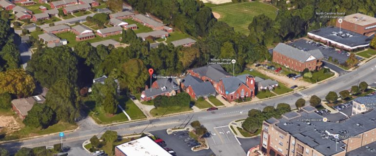 An aerial shot of 1019 Oberlin c/o Google Maps
