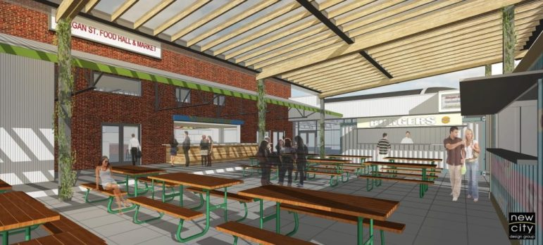 A rendering of the Morgan Street Food Hall